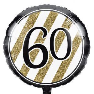 Gevulde Folieballon Black & Gold 60 jaar