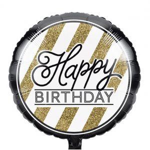 Gevulde Folieballon Black & Gold Happy Birthday