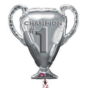 Folieballon Beker Champion Zilver Supershape