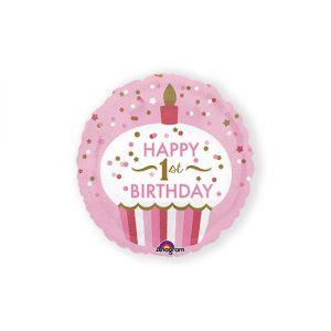 Folieballon 1 jaar cupcake roze