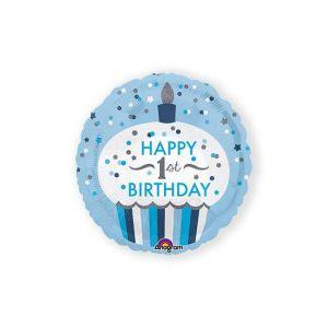 Folieballon 1 jaar cupcake blauw