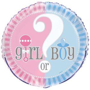 Folieballon Gender Reveal Girl or Boy