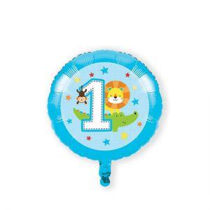 Folieballon 1 jaar blauw dieren