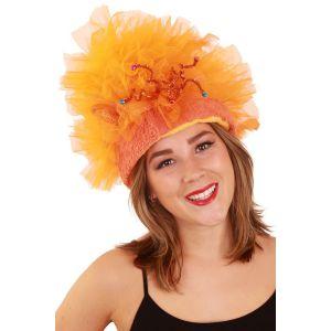 Fur hoed oranje met verlichting