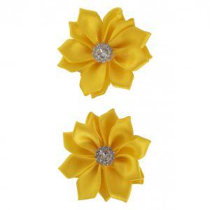 Satijnen bloemen met steentje Geel 12 st. 6 cm