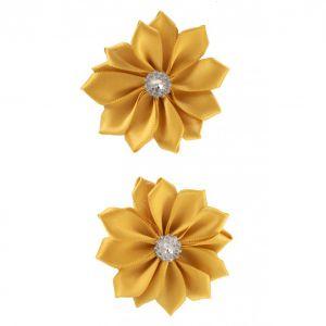 Satijnen bloemen met steentje Goud 12 st. 6 cm