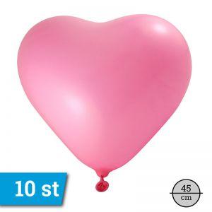 Ballonnen Hart fel roze (10 stuks) 45 cm