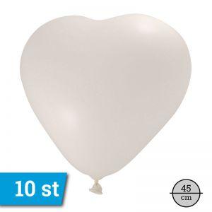 Ballonnen Hart wit (10 stuks) 45 cm