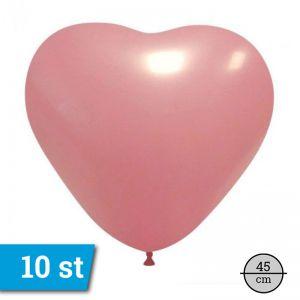 Ballonnen Hart roze (10 stuks) 45 cm