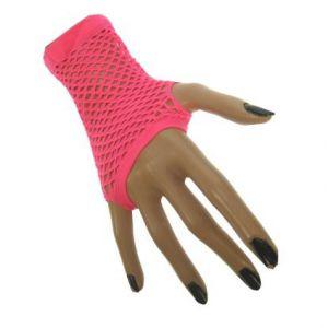 Nethandschoen vingerloos Neon Roze