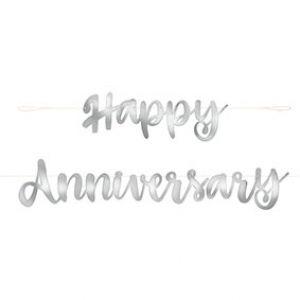 Letterslinger Happy Anniversary Zilver
