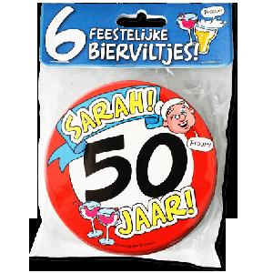 Bierviltjes 50 Jaar Sarah (6 stuks)