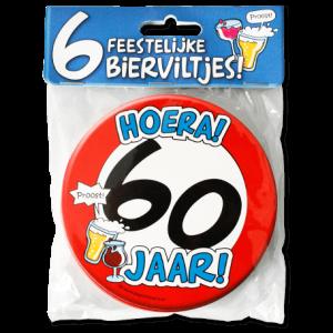 Bierviltjes 60 Jaar (6 stuks)