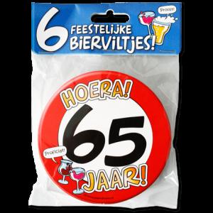 Bierviltjes 65 Jaar (6 stuks)