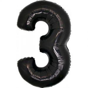 Folieballon Zwart Cijfer 3, 100 cm