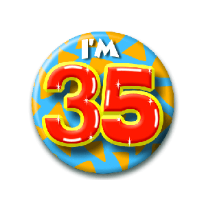 Button klein 35 jaar