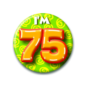 Button klein 75 jaar