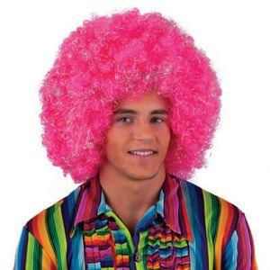 001. Pruik Afro Roze Zilver