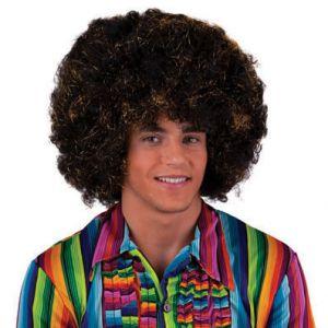 002. Pruik Afro Zwart Goud