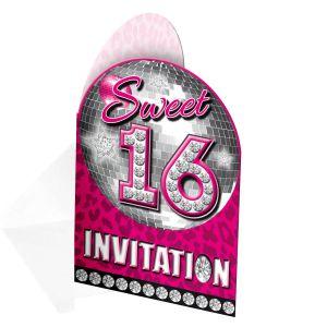 Sweet 16 Uitnodigingen (8 Stuks)