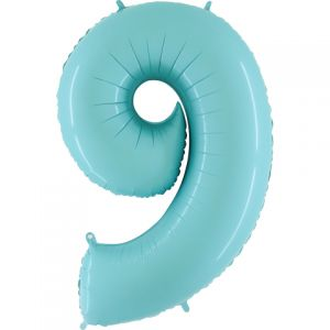 Folieballon Baby Blauw Cijfer 9, 100 cm