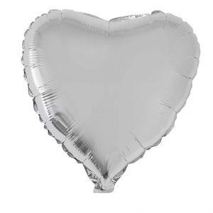 Folieballon Hart Zilver 52x46 cm
