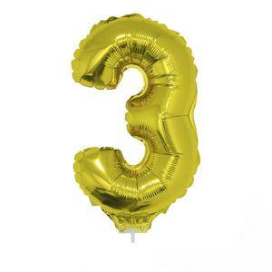 84776 folieballon goud 40 cm op stokje cijfer 3