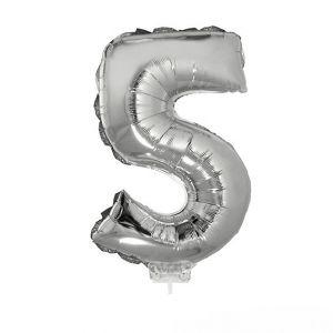 84779 folieballon zilver 40 cm op stokje cijfer 5