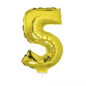 84780 folieballon goud 40 cm op stokje cijfer 5