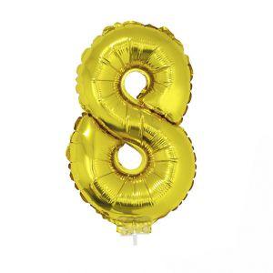 84786 folieballon goud 40 cm op stokje cijfer 8