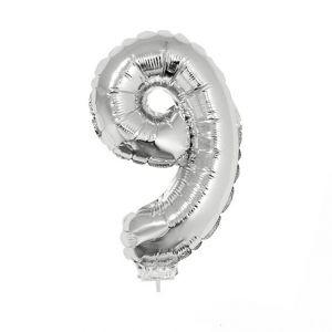 84787 folieballon zilver 40 cm op stokje cijfer 9