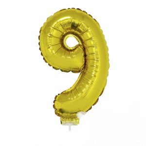84788 folieballon zilver 40 cm op stokje cijfer 9