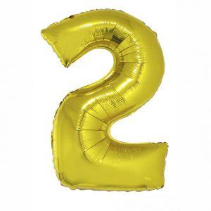 84791 Folieballon Goud Cijfer 2, 102 cm