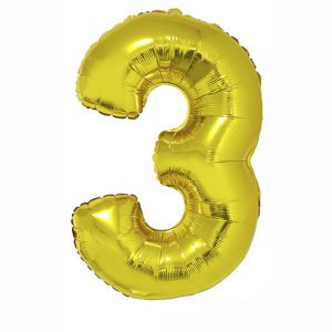 84792 Folieballon Goud Cijfer 3, 102 cm