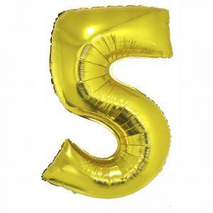 84794 Folieballon Goud Cijfer 5, 102 cm