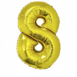 84797 Folieballon Goud Cijfer 8, 102 cm