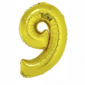 84798 Folieballon Goud Cijfer 9, 102 cm