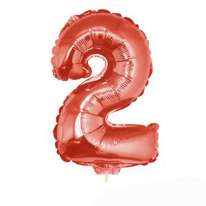 Folieballon Rood Cijfer 2, 40 cm