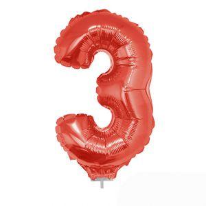 Folieballon Rood Cijfer 3, 40 cm