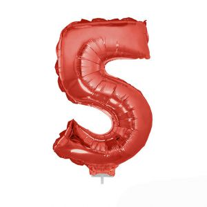Folieballon Rood Cijfer 5, 40 cm
