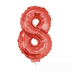 Folieballon Rood Cijfer 8, 40 cm