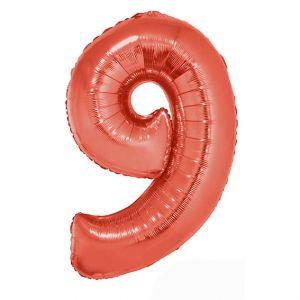 Folieballon Rood Cijfer 9, 102 cm