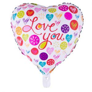 Gevulde Folieballon Hart Love You Gekleurd 52x46 cm
