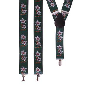 Bretels Tiroler groen met edelweissbloem