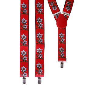 Bretels Tiroler rood met edelweissbloem