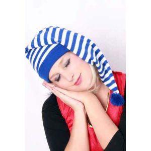 Slaapmuts gestreept blauw/wit
