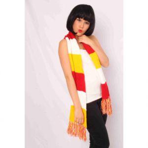 Sjaal gebreid rood/wit/geel