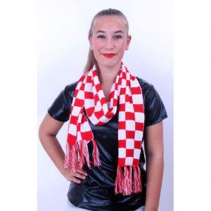 Sjaal gebreid rood/wit geblokt