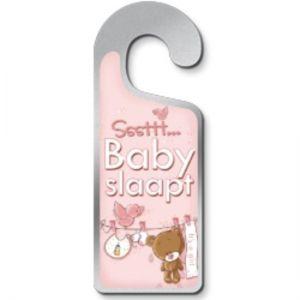 Deurhanger Baby Slaapt (Roze)