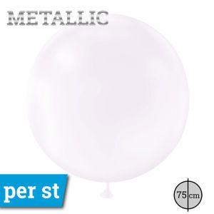 Reuze Ballon Metallic Wit 75 cm